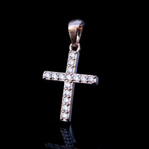 Other - Micro Mini 14k Rose Gold Plated Cz Iced pink cross